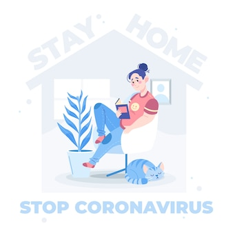 Pare o conceito ilustrado de coronavírus