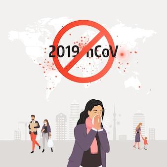 Pare o coronavírus. homem infectado, espirrando em um lenço. ícone de coronavírus com sinal vermelho de proibição, 2019-ncov