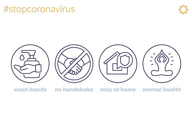Pare o coronavírus, ícones da linha de conselhos, lave as mãos, fique em casa