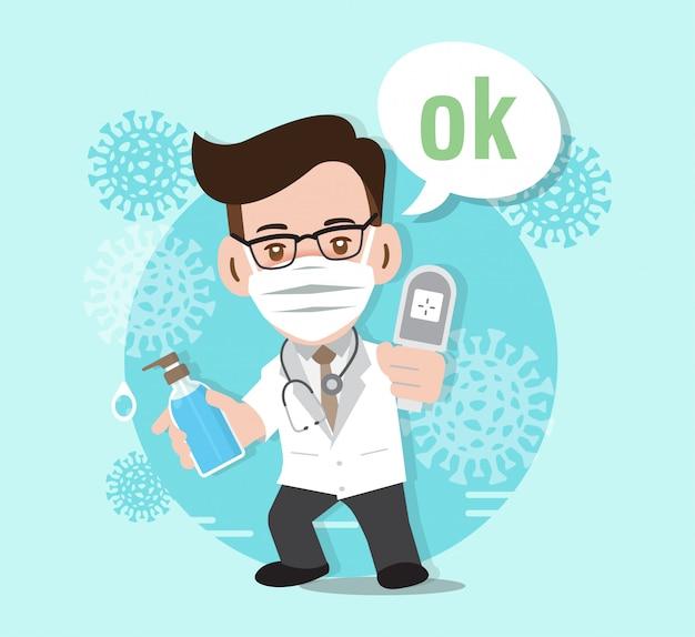 Pare o coronavírus, médico lutando contra o coronavírus, ilustração