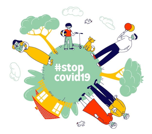 Pare o coronavirus, o conceito de ficar em casa.