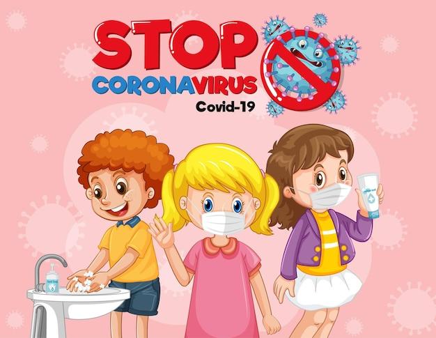 Pare o design do banner do coronavirus com crianças usando máscara médica