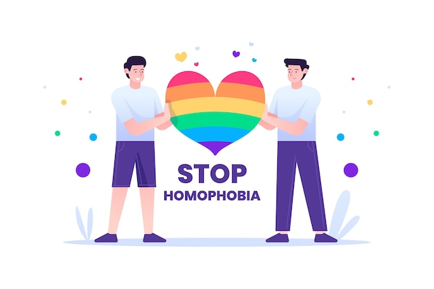 Pare o design ilustrado da homofobia