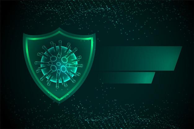 Pare o escudo de proteção contra coronavírus com célula de vírus
