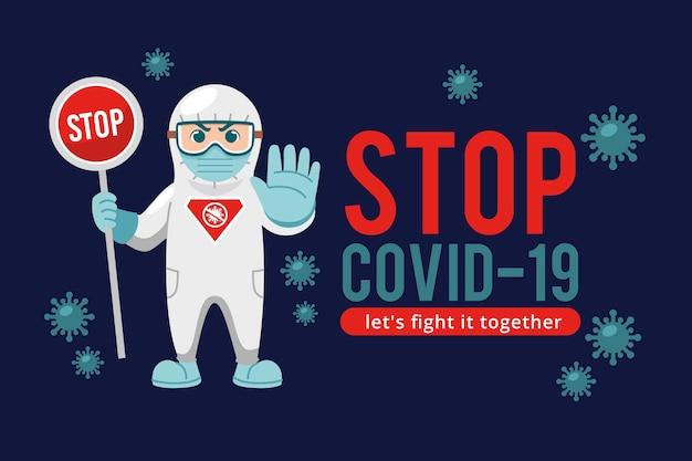 Pare o homem de coronavírus em traje de proteção