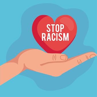 Pare o racismo, com a mão recebendo o coração, o conceito de vida negra
