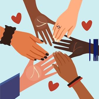 Pare o racismo com as mãos e o coração