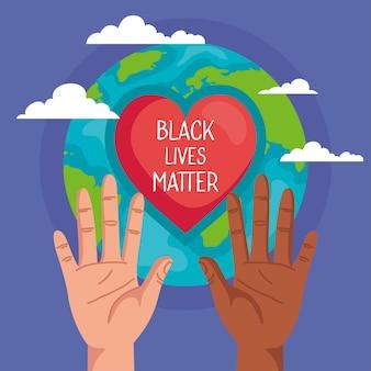 Pare o racismo, com as mãos, o coração e o planeta do mundo, o conceito de vida negra