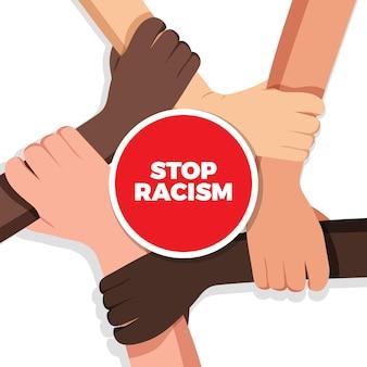 Pare o racismo com mãos de etnias diferentes