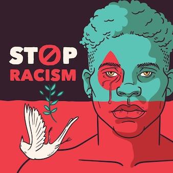 Pare o racismo homem negro e pombo