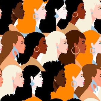Pare o racismo. nós somos iguais. conceito sobre o tema do racismo. pessoas protestando.