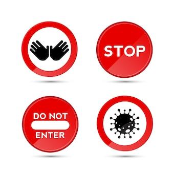 Pare o roadsign com o símbolo ou ícone de uma mão grande para atividades proibidas. ilustração vetorial.