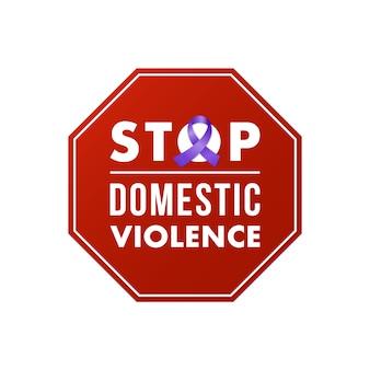 Pare o selo de violência doméstica. conceito social.