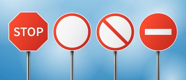 Pare o sinal de trânsito. tráfego da rua em branco, perigo parando placas gesticulando. conjunto de vetores de sinalização de viagens. sinal de alerta de rua, ilustração de informações de parada de trânsito