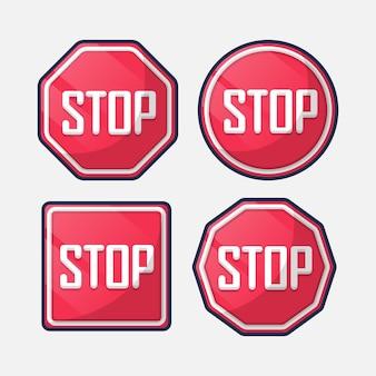 Pare o sinal definido. desenho animado Vetor Premium