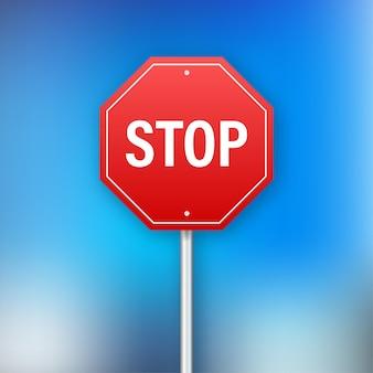 Pare o sinal para o design do banner. sinal de informação. ilustração em vetor das ações.