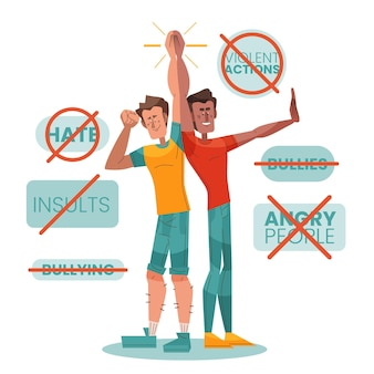 Pare o tema da ilustração de bullying