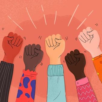 Pare o tema da ilustração do racismo