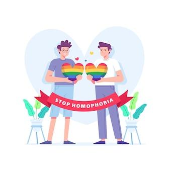 Pare o tema ilustrado da homofobia