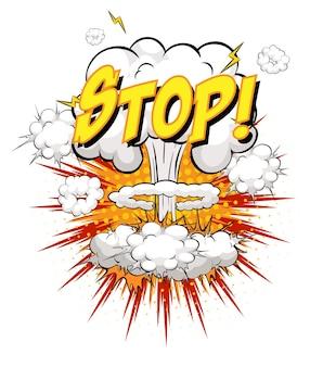 Pare o texto sobre explosão de nuvem em quadrinhos isolada no fundo branco