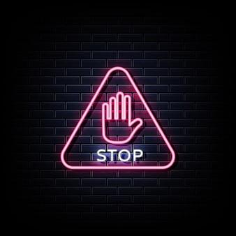 Pare os letreiros de néon na parede preta