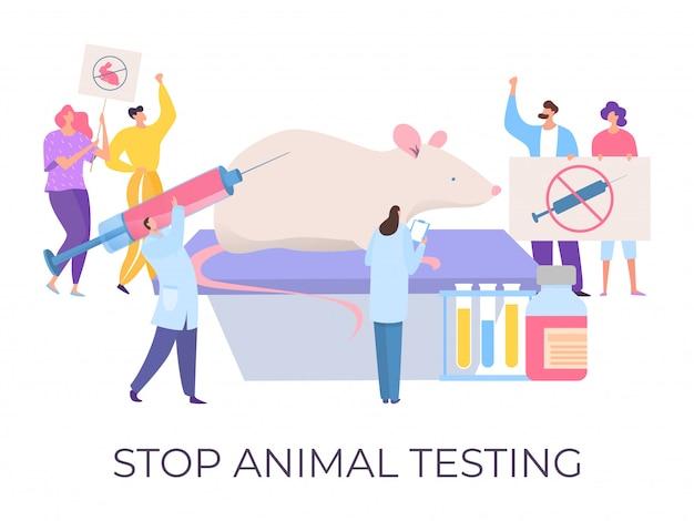 Pare os testes com animais, demonstração contra a crueldade, ilustração. pessoas multidão personagem segurar sinais para parar o teste tóxico