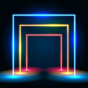 Parede abstrata do túnel de linhas brilhantes de néon. conceito de portal quadrado.