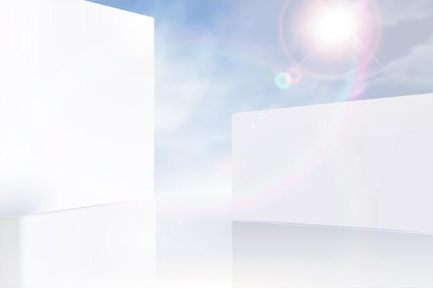 Parede branca moderna e fundo de céu azul na ilustração 3d