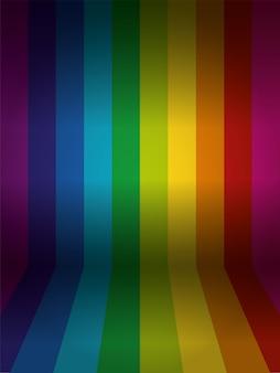 Parede colorida de arco-íris de vetor com piso