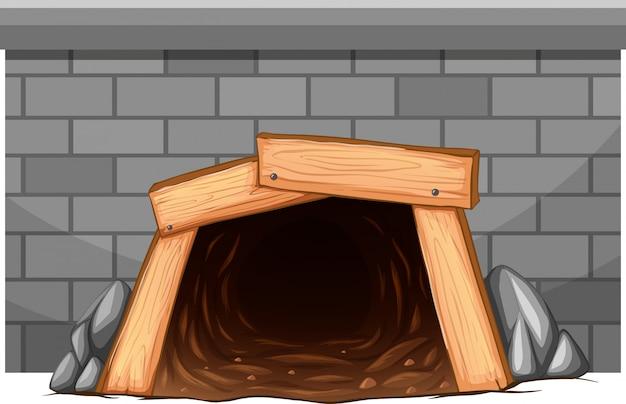 Parede com entrada de túnel