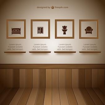 Parede com sala de exposição de quadros