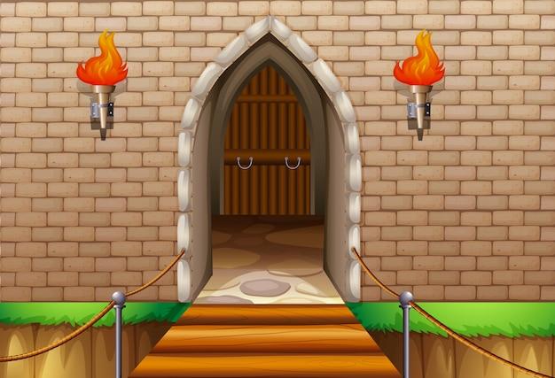 Parede da torre do castelo com ponte