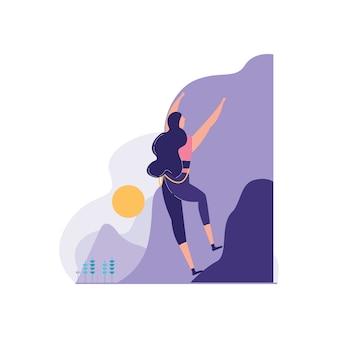 Parede de alpinista com paisagem