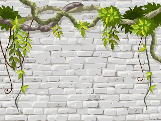 Parede de alvenaria com moldura de ramos de cipó