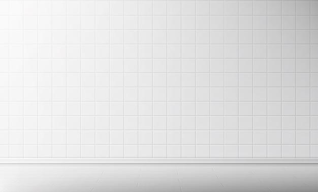 Parede de azulejo branco e piso no fundo do banheiro