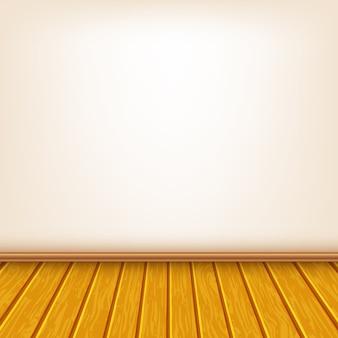 Parede de casa com piso de madeira