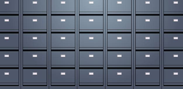 Parede de escritório de arquivo de documentos de arquivo de documentos pastas de armazenamento para arquivos conceito de administração de negócios ilustração vetorial horizontal