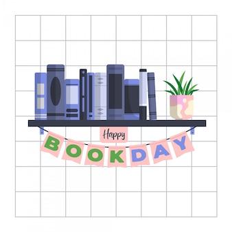 Parede de grade de fio de dia mundial do livro