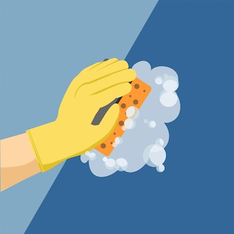 Parede de lavagem à mão. limpando. serviço de limpeza de casas e escritórios.