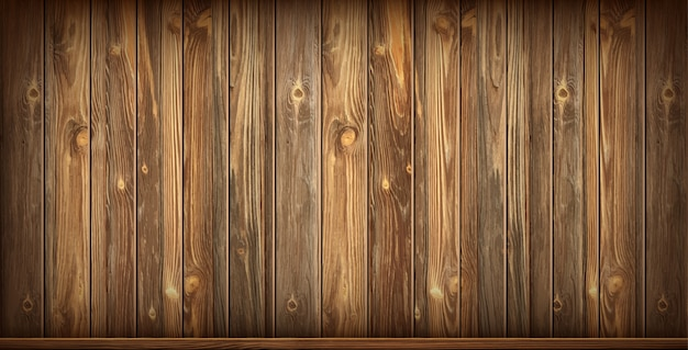 Parede de madeira e piso com superfície envelhecida, realista