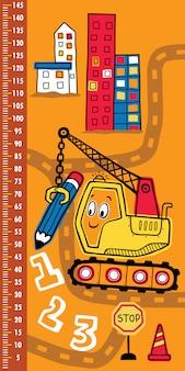 Parede de medição de altura com veículo de construção engraçado