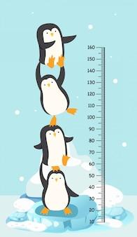 Parede de medidor com pinguim. ilustração.
