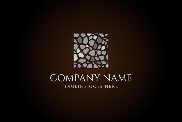 Parede de mosaico de piso de pedra quadrada para construção de logotipo em vetor