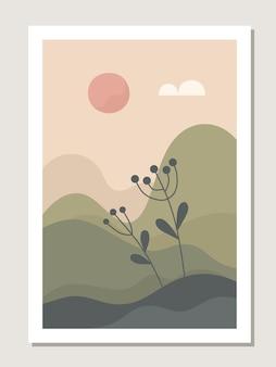 Parede de paisagem de arte. botânico. paisagem abstrata