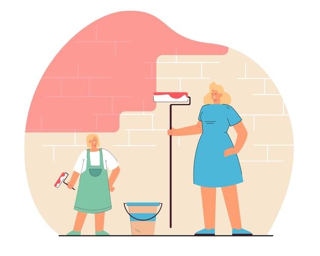 Parede de pintura de mãe e filha. ilustração plana