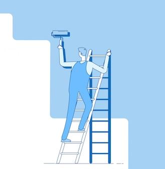 Parede de pintura de pintor. trabalhador na escada, artesão pinta paredes de casa. conceito de decoração e renovação de serviço de reparo de casa