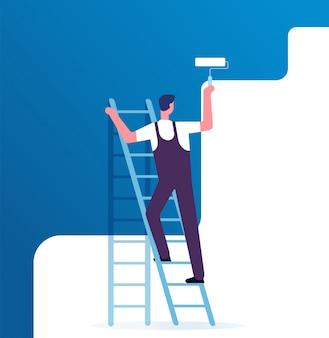 Parede de pintura de pintor. trabalhador na escada pinta em casa. serviço de reparo e conceito de vetor de renovação
