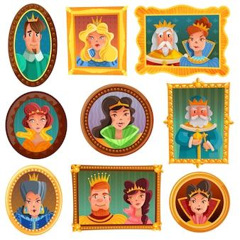 Parede de retrato de princesas e rainhas