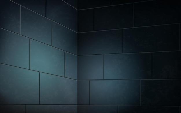 Parede de tijolo azul escuro, cena interior abstrata para decoração em ilustração 3d