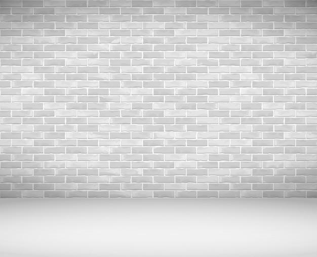 Parede de tijolo branco velho e chão